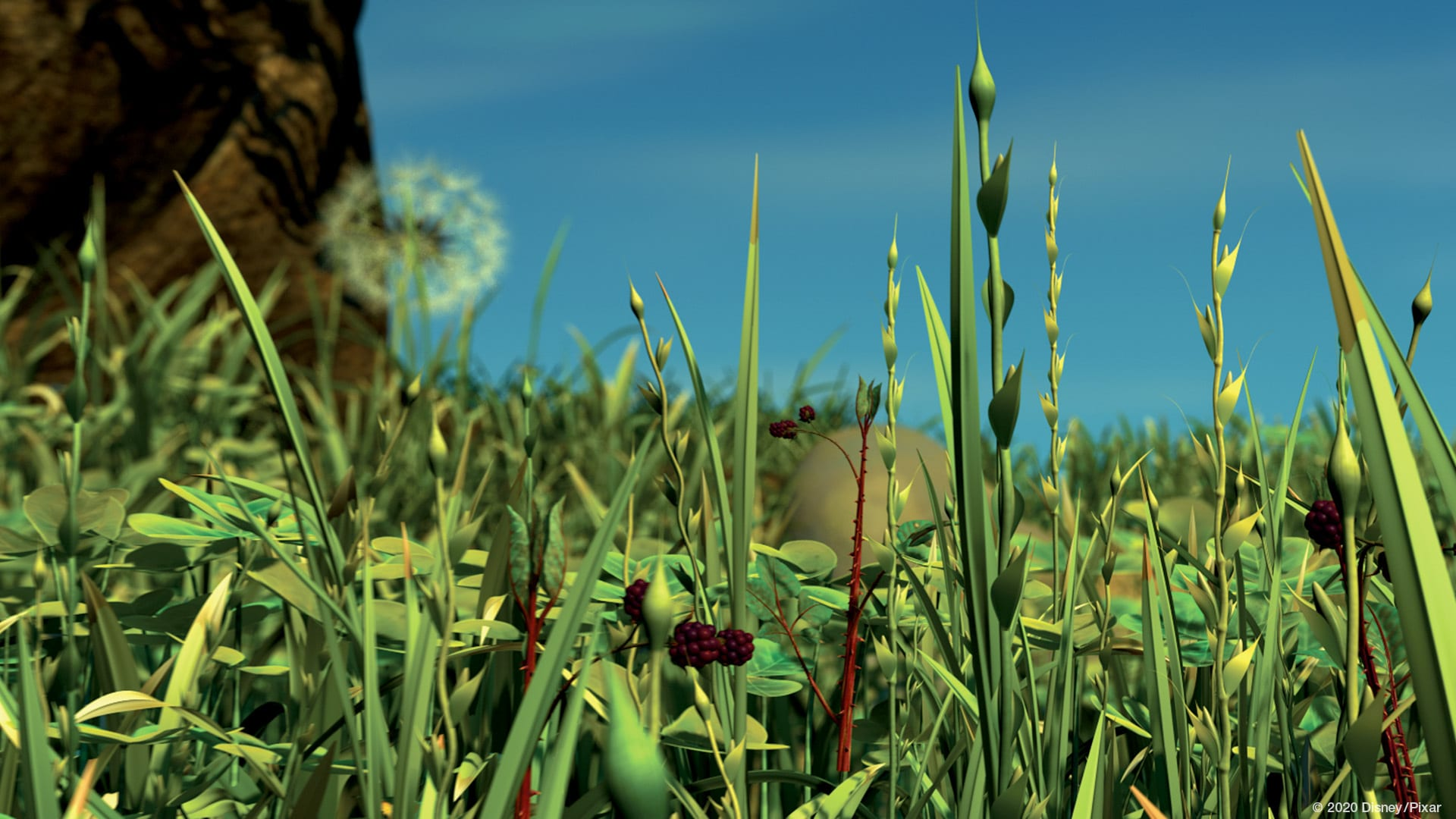 A Bugs Life - Garden view for an insect in Disney Pixar movie A Bugs Life