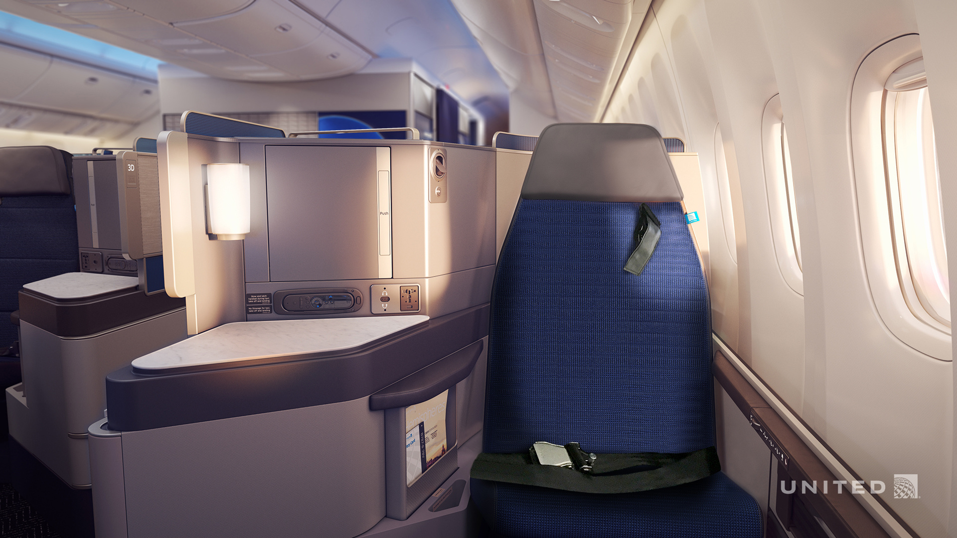 Business class airplane seat - United Airlines Polaris Business class
