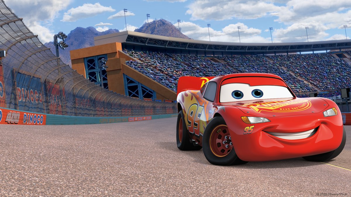 Cars 3 - Lightning McQueen on the racetrack from the movie Cars