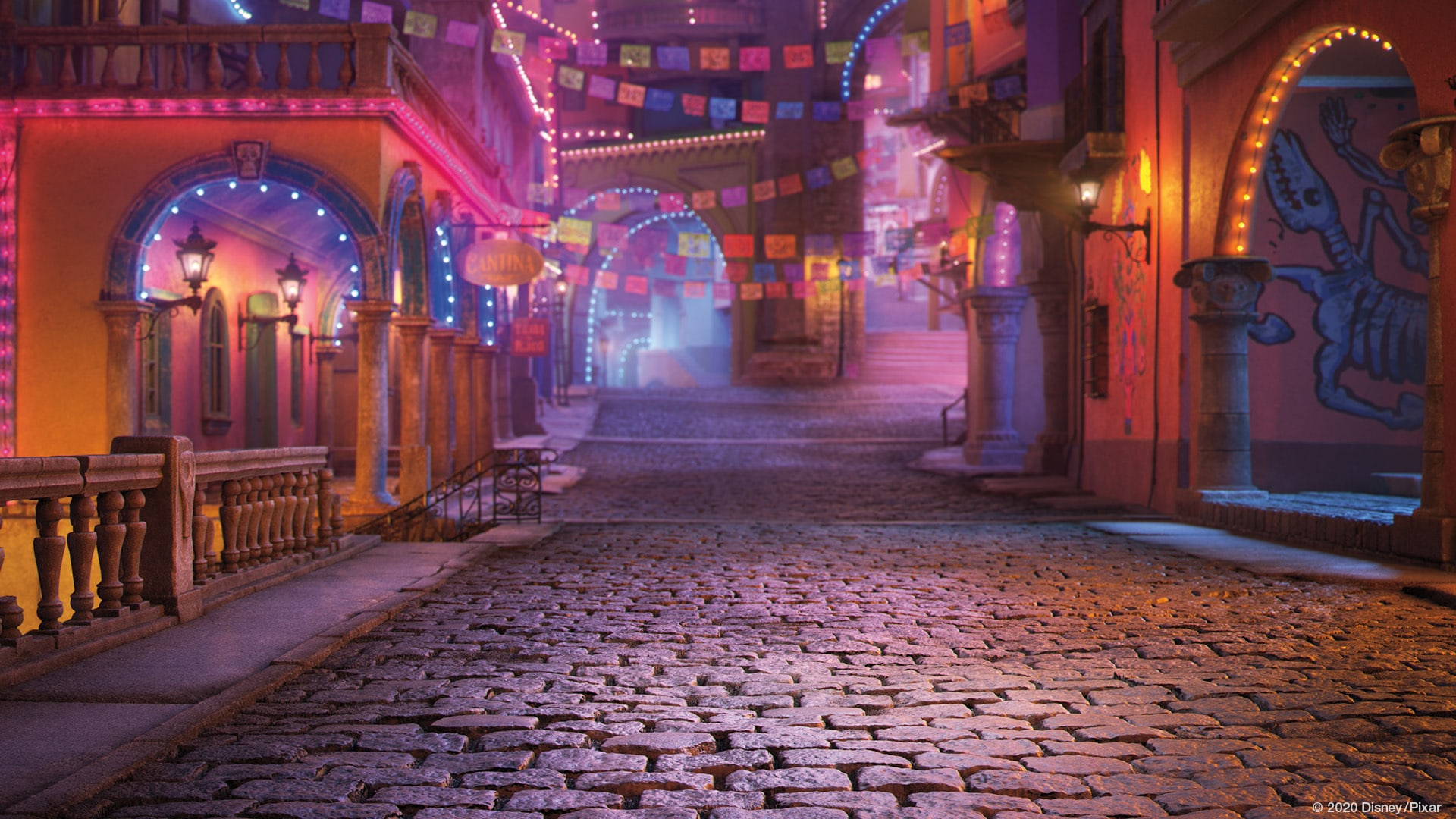 Coco - Streets at nightime from the Disney Pixar movie Coco