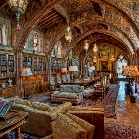 Hearst castle - A dining and library room in the Hearst castle mansion